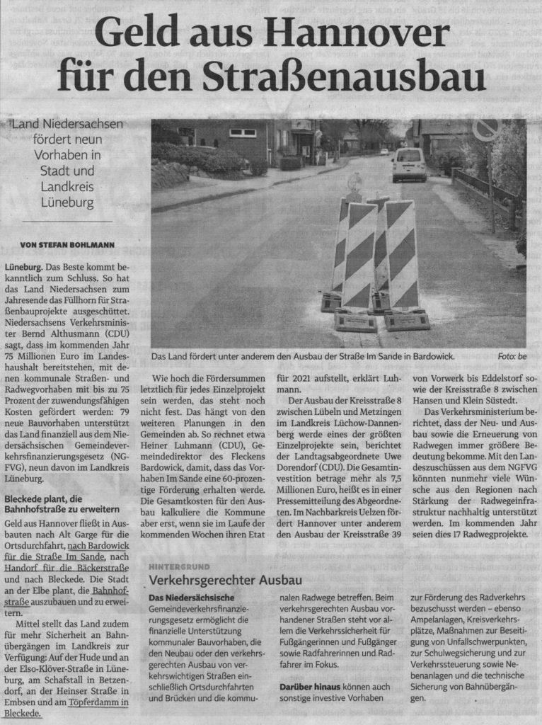 Geld aus Hannover für den Straßenausbau