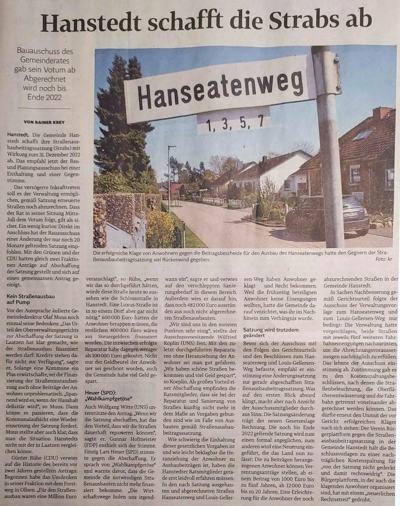 Hanstedt schafft die Strabs ab
